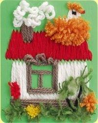 Гобелен (плетёная картина) Домик фотография 3