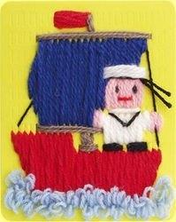 Гобелен (плетёная картина) Кораблик фотография 3