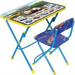 Фото Комплект детской мебели стол и стул мягкий Большие гонки (синий) (КУ1/15)