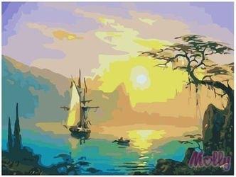 Фото Картина по номерам Парусник на закате 40х50 (GX7007)