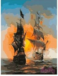 Фото Картина по номерам Морской бой 40х50 (GX6257)