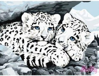 Фото Картина по номерам Снежные барсы 40х50 (G194)