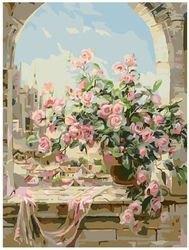 Фото Картина по номерам Букет в окне 40х50 (G134)