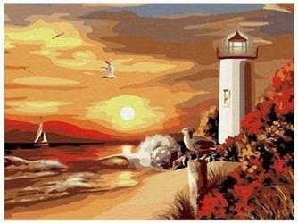 Фото Картина по номерам Маяк на закате 40х50 (G089)