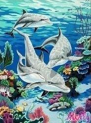 Фото Картина по номерам Дельфины в океане 40х50 (G046)