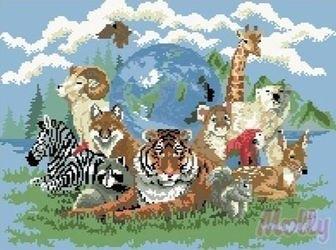Фото Мозаичная картина Планета зверей 40х50 см (GZ012)