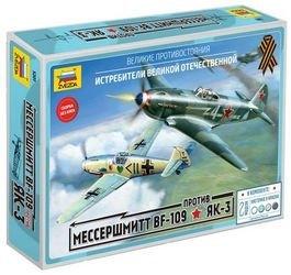 """Фото Сборная модель Великие противостояния """"Мессер Bf-109"""" против """"Як-3"""" (5201)"""