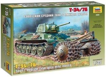 Фото Сборная модель Советский средний танк с минным тралом Т-34/76 (3580)