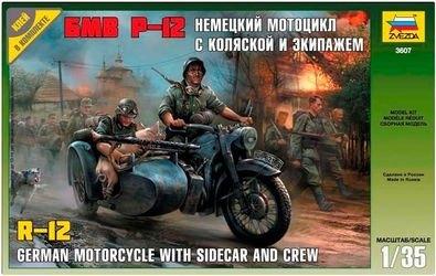 Фото Сборная модель Немецкий мотоцикл с коляской и экипажем БМВ Р-12 (3607)