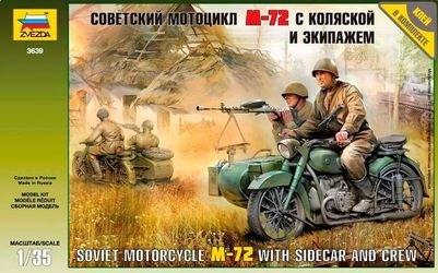 Фото Сборная модель Советский мотоцикл М-72 с коляской и экипажем (3639)