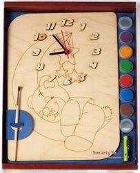 Фото Часы под роспись деревянные Мишутка с красками (ДНИ112)