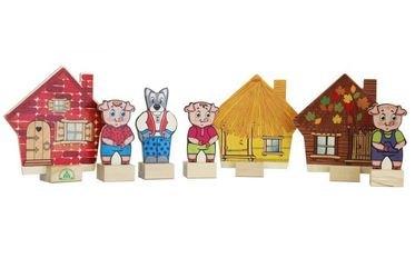 Фото Набор деревянный Персонажи сказки Три поросенка