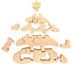 Деревянный пазл Ёлочка с игрушками с красками фотография 3