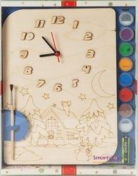 Фото Часы под роспись деревянные Зимний домик с красками (ДНИ124)