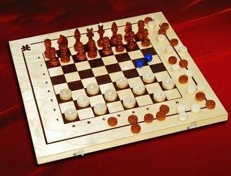Фото Настольная игра Шахматы, шашки, нарды 3 в 1 деревянные (С-11/ШК-1)