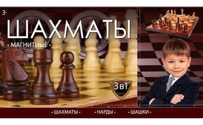 Фото Магнитные Шахматы, шашки, нарды настольная игра 3 в 1 (G049-H37001R)