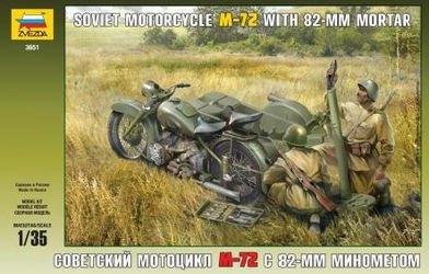 """Фото Сборная модель Советский мотоцикл """"М-72"""" с минометом (3651)"""