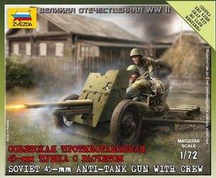 Фото Сборная модель Советская противотанковая 45 мм пушка с расчетом (6112)