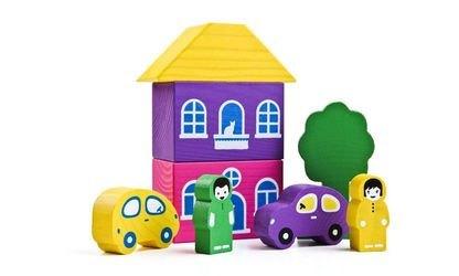 Фото Конструктор деревянный Цветной городок Фиолетовый 8 деталей (8688-2)