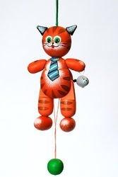 Фото Деревянная игрушка дергунчик Котик (С115)
