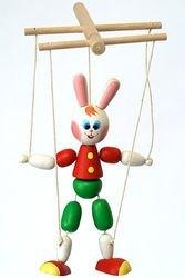 Фото Деревянная игрушка Зайчик марионетка (СМ3)