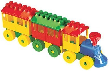 Фото Конструктор пластмассовый Паровозик с двумя вагонами (2044)