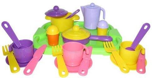 Фото Набор игрушечной посуды Настенька с подносом на 3 персоны (3957)
