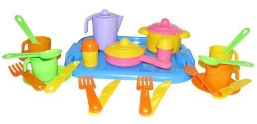 Фото Набор кукольной посуды Настенька с подносом на 4 персоны (3964)