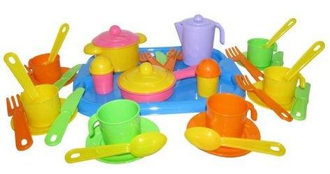 Фото Набор игрушечной посуды Настенька с подносом на 6 персон (3971)