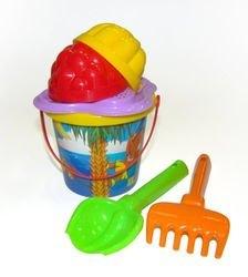 Фото Детский песочный набор №229 (ведро с наклейкой, сито, совок, грабли, формочки (0528)