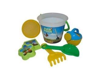 Фото Детский песочный набор №459 Ведро, сито, совок, грабли, формочки 2 шт, лейка малая (43771)