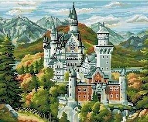 Фото Картина мозаикой Старинный замок в горах 40х50 (GZ228)