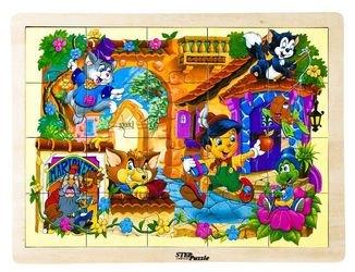 Фото Деревянный пазл Любимые сказки Пиноккио (89713)