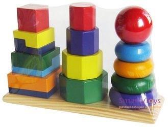 Пирамидки деревянные 3 в 1 (Д037) фотография 2