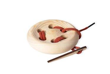 Фото Шнуровка Пуговица деревянная 6 отверстий (7729)