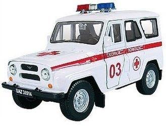 Фото Масштабная модель УАЗ-31514 Скорая помощь (с капотом) 1:36 (11444)