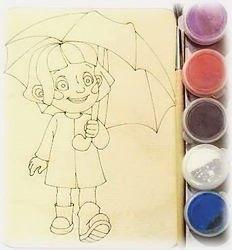 Фото Доскапод роспись Девочка с зонтом с красками и кисточкой (7814)