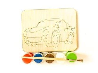 Фото Доскапод роспись Машинка с красками и кисточкой (7806)