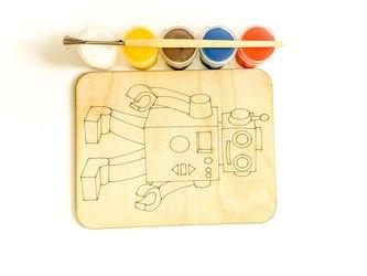 Фото Доскапод роспись Робот с красками и кисточкой (7813)