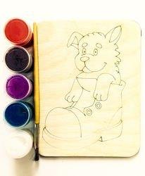 Фото Доскапод роспись Щенок в ботинке с красками и кисточкой (7811)
